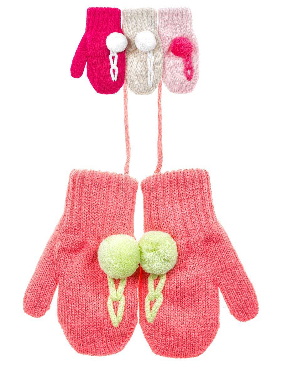 Варежки двойной вязки для девочки, цвет: мультиколор
