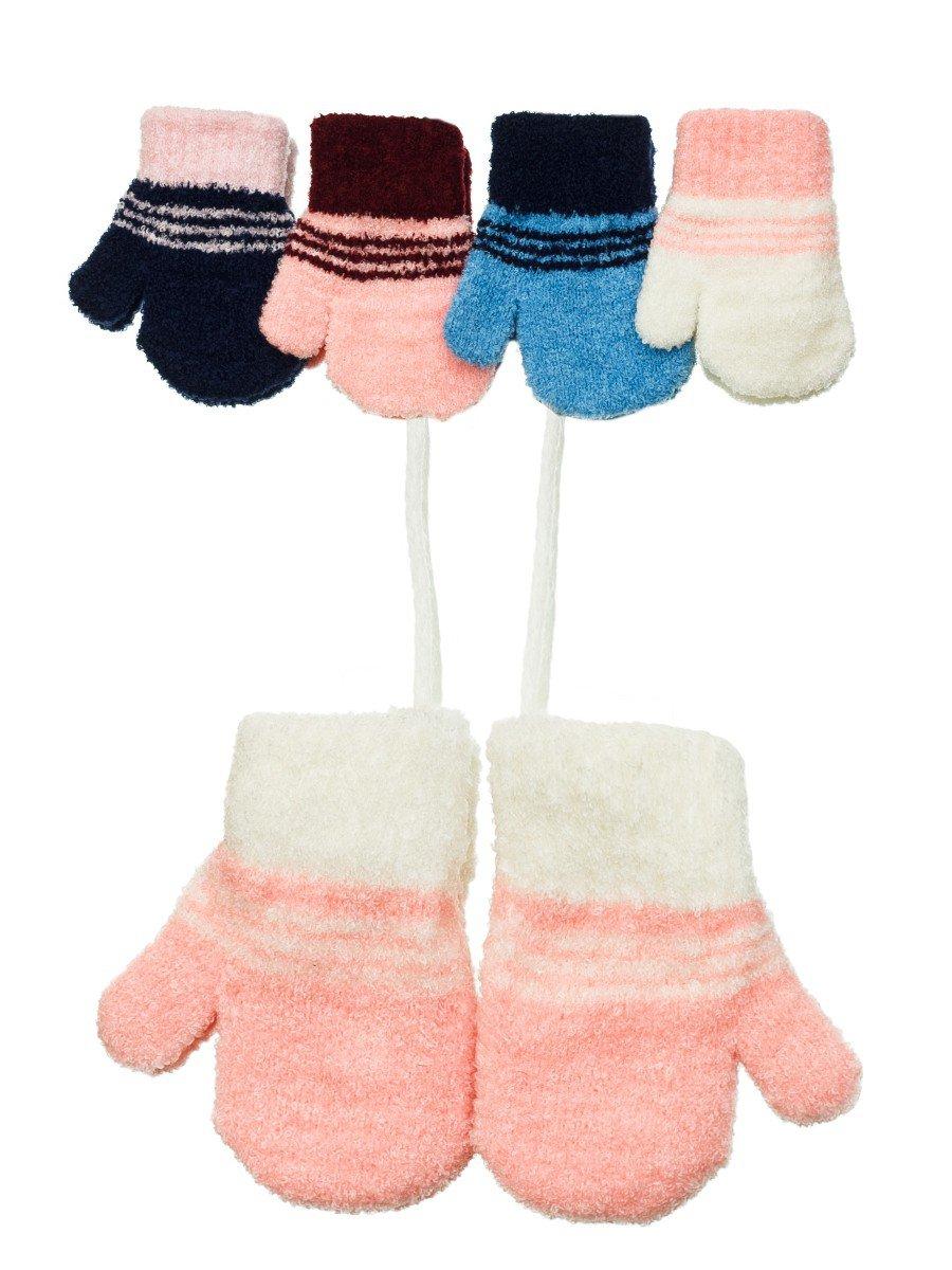 Варежки махровые для девочки, цвет: мультиколор