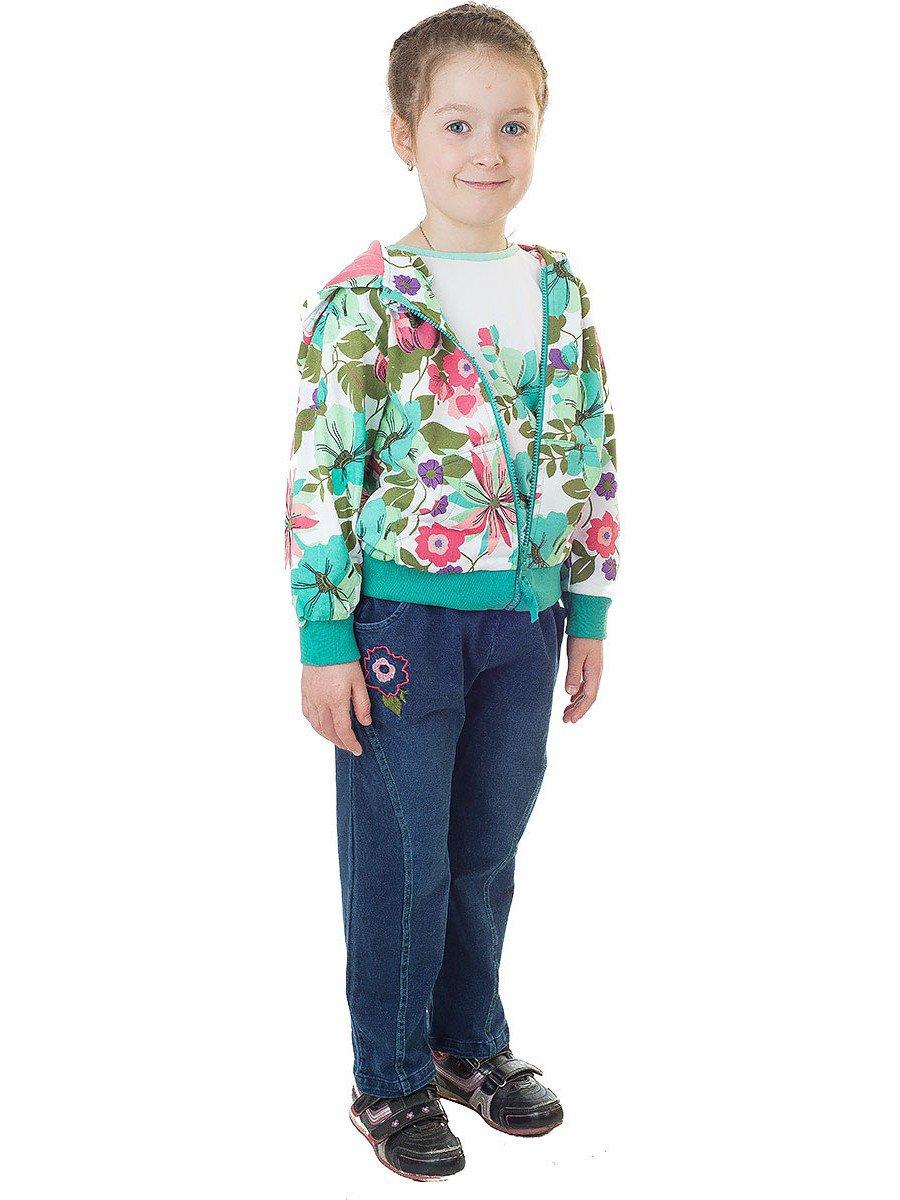 Комплект для девочки: куртка, джинсы и толстовка из хлопка, цвет: бирюзовый