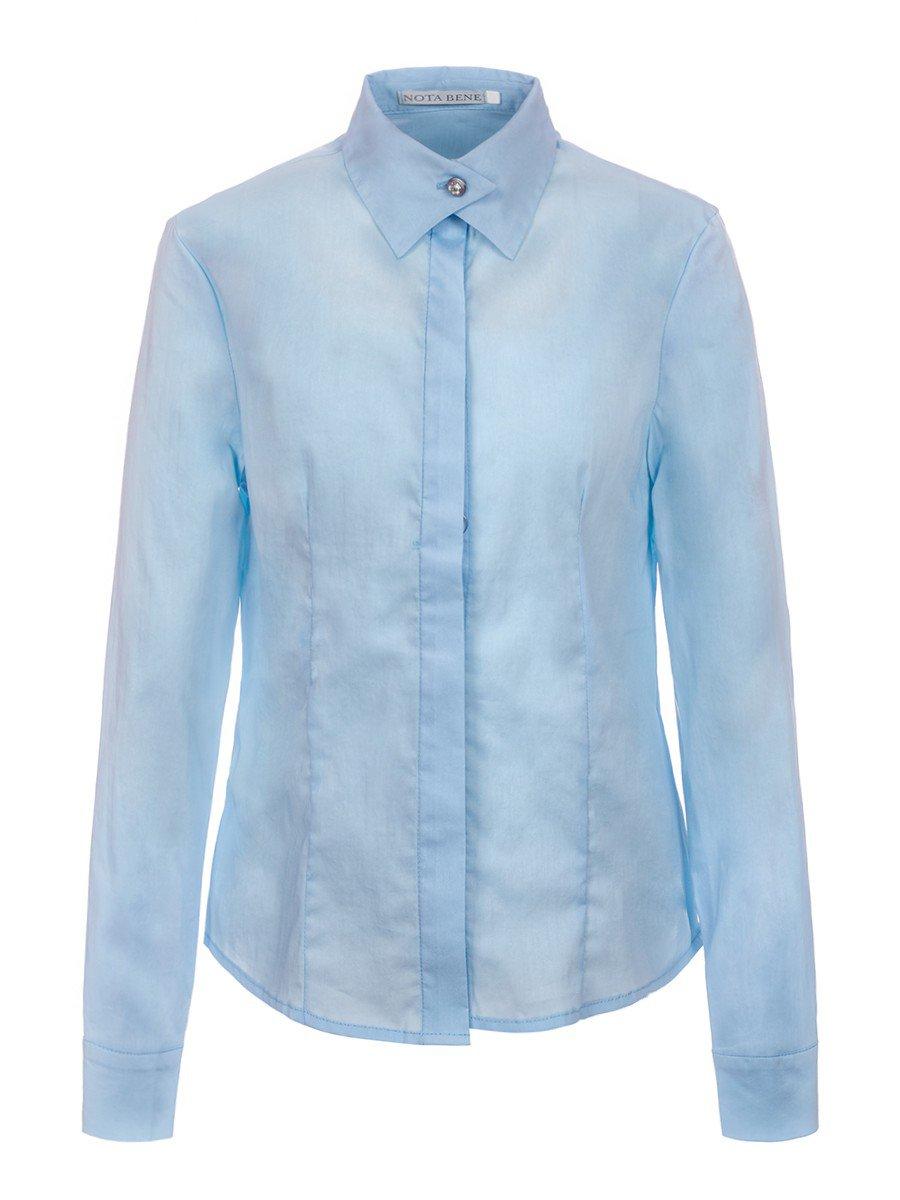 Блузка для девочки старшего школьного возраста, цвет: голубой