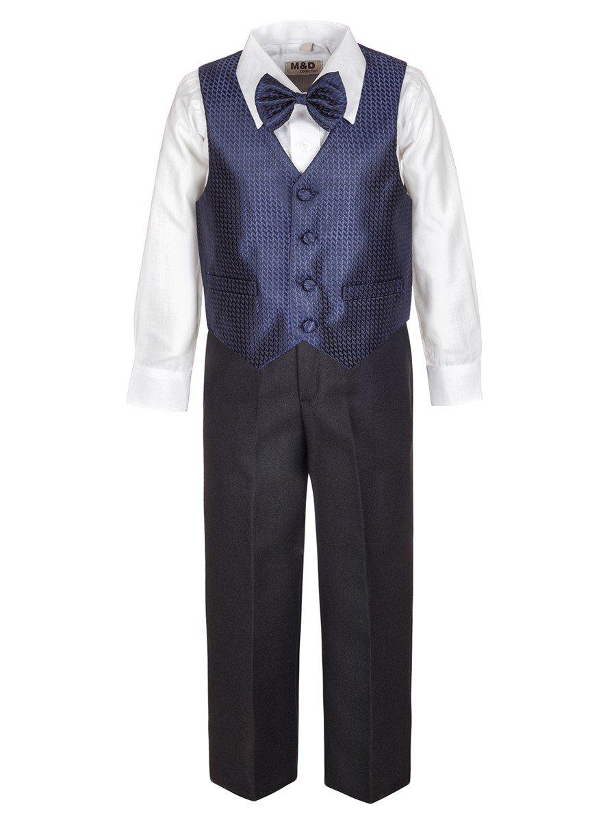 Костюм для мальчика: жилет, брюки, рубашка и бабочка, цвет: темно-синий