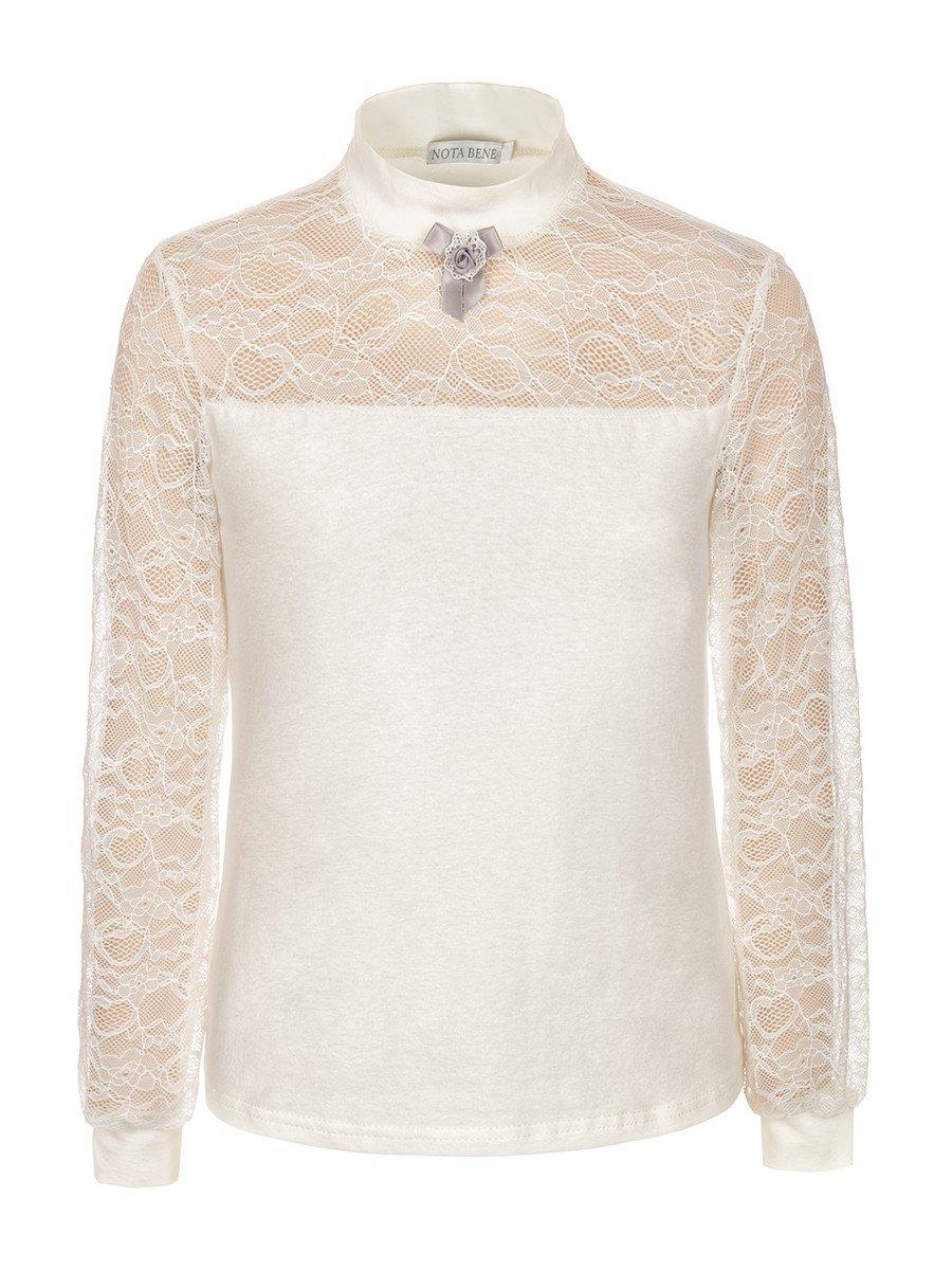 Блузка для девочки трикотажная, цвет: молочный