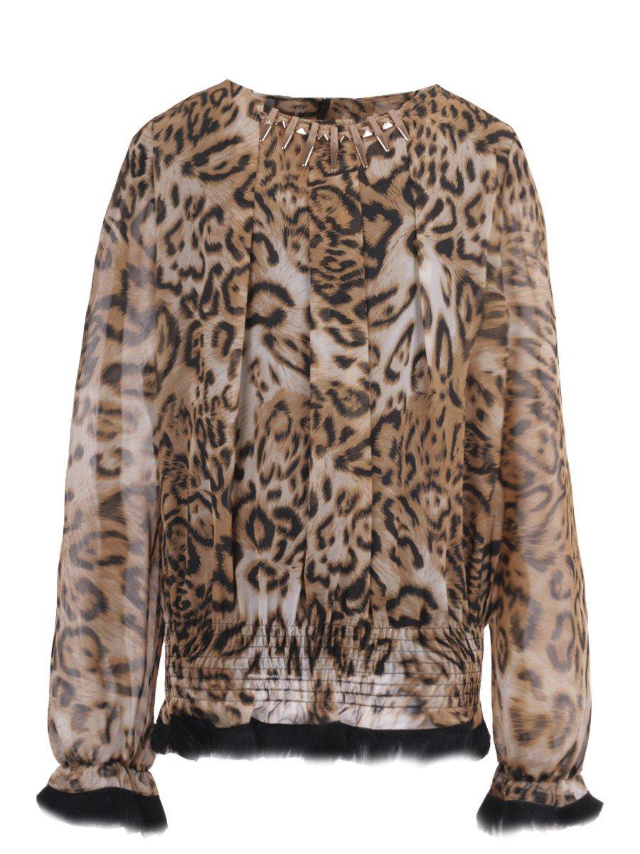 Блузка для девочки, цвет: леопард коричневый