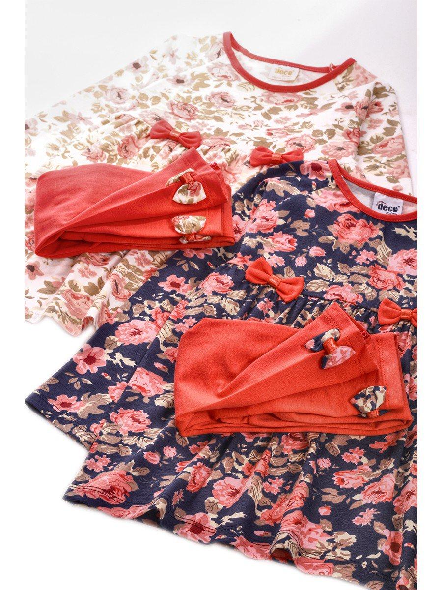 Комплект для девочки:туника и лосины, цвет: темно-синий