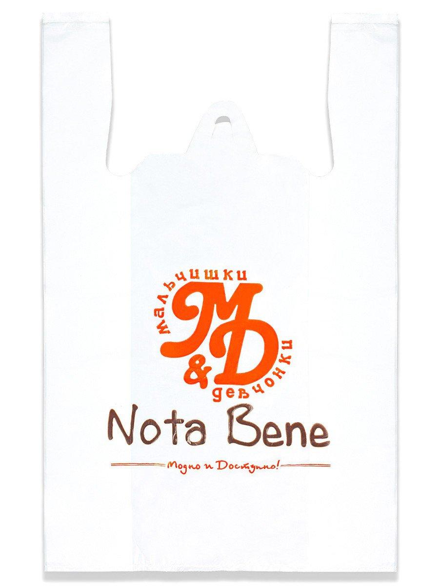 """Пакет полиэтиленовый с логотипом """"Nota Bene"""". (майка), цвет: белый"""