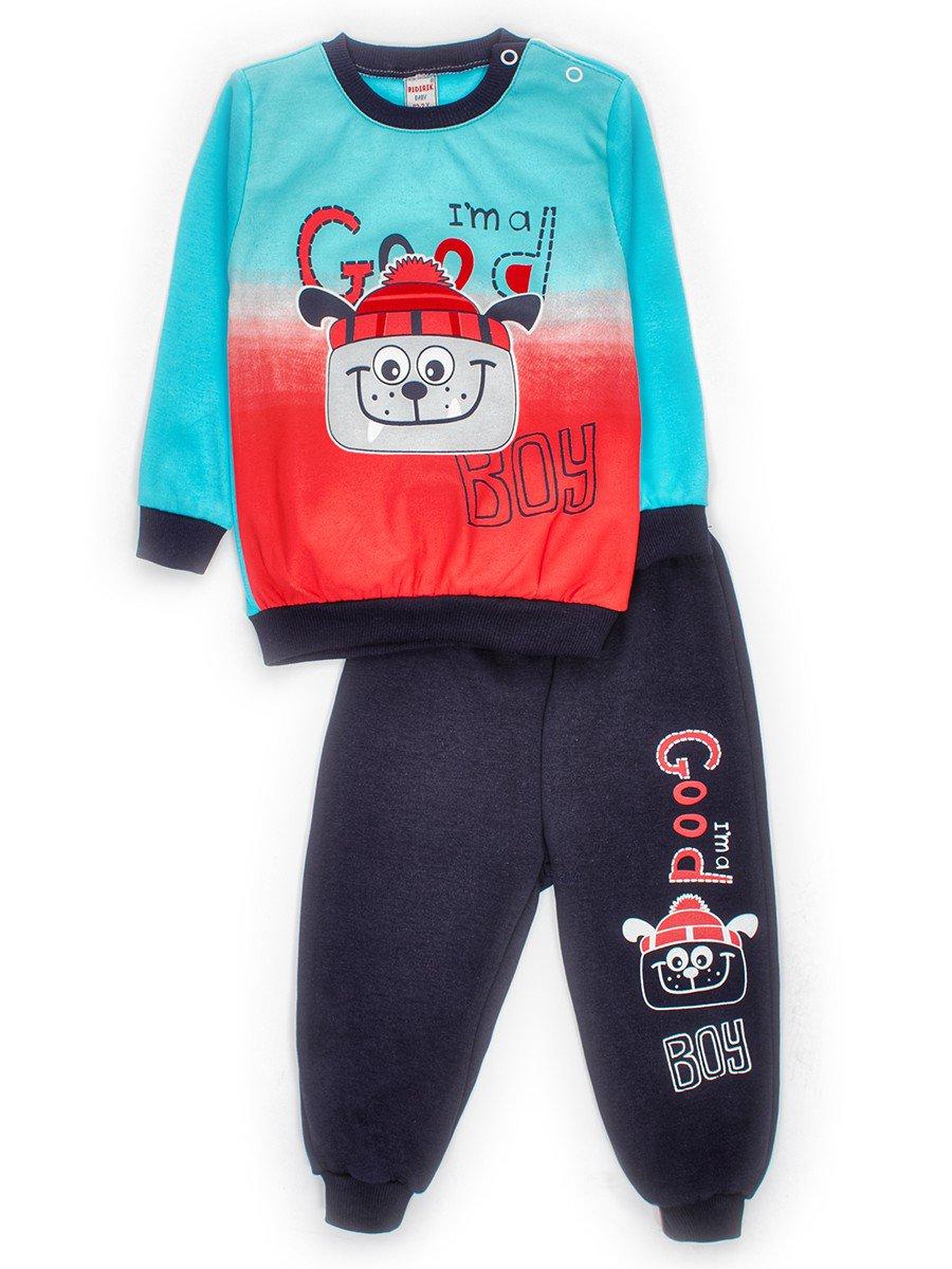 Комплект для малчика: толстовка и штанишки, цвет: бирюзовый