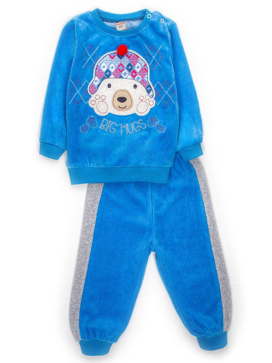 Комплект велюровый для мальчика: кофточка и штанишки, цвет: голубой