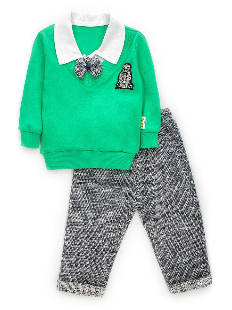 Комплект обманка для мальчика: кофточка и штанишки, цвет: зеленый