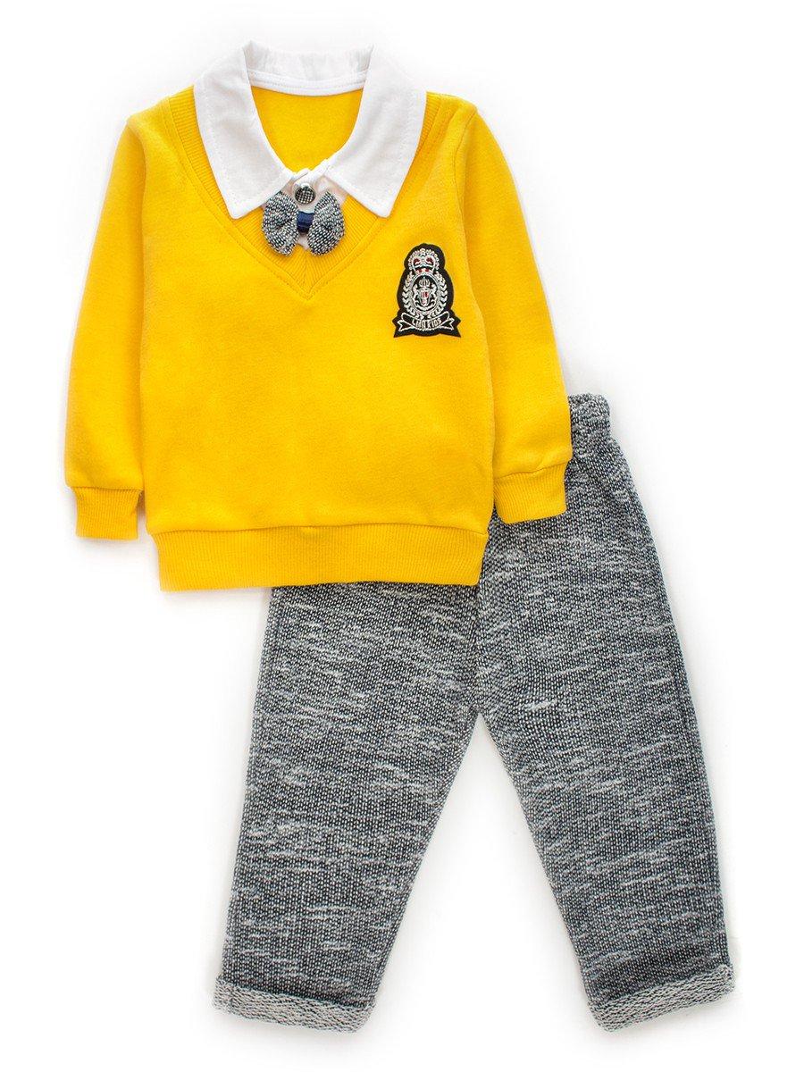 Комплект обманка для мальчика: кофточка и штанишки, цвет: желтый