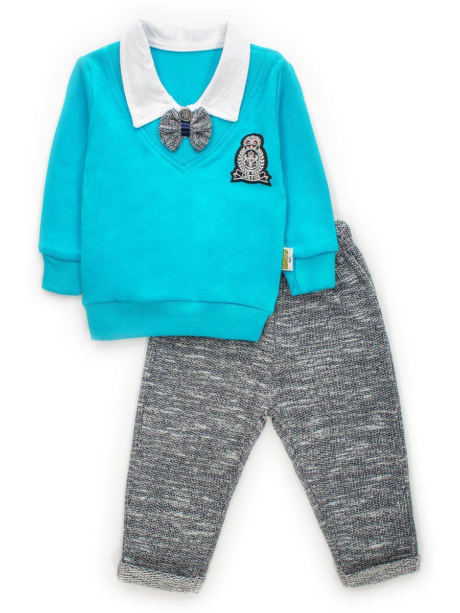 Комплект обманка для мальчика: кофточка и штанишки, цвет: бирюзовый