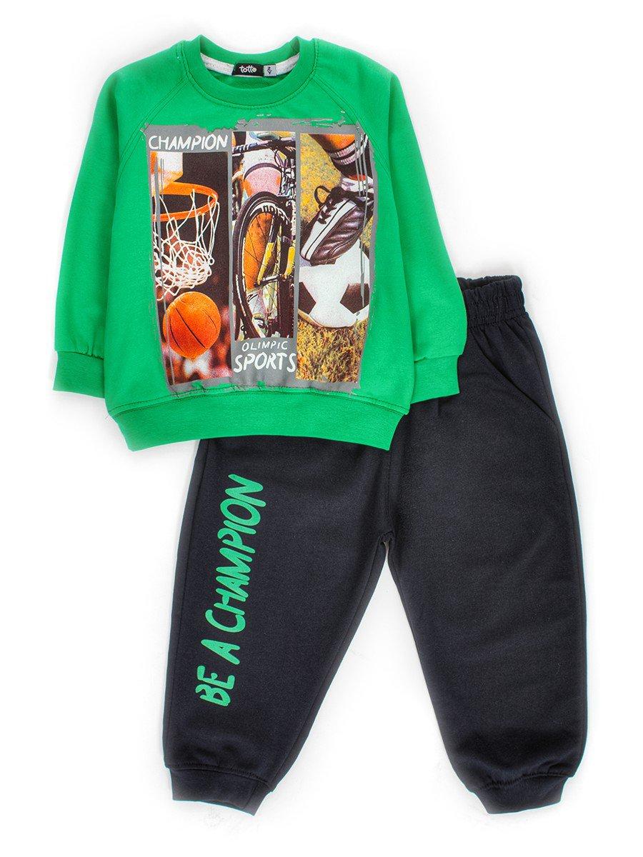 Комплект для мальчика: штанишки и кофточка, цвет: зеленый