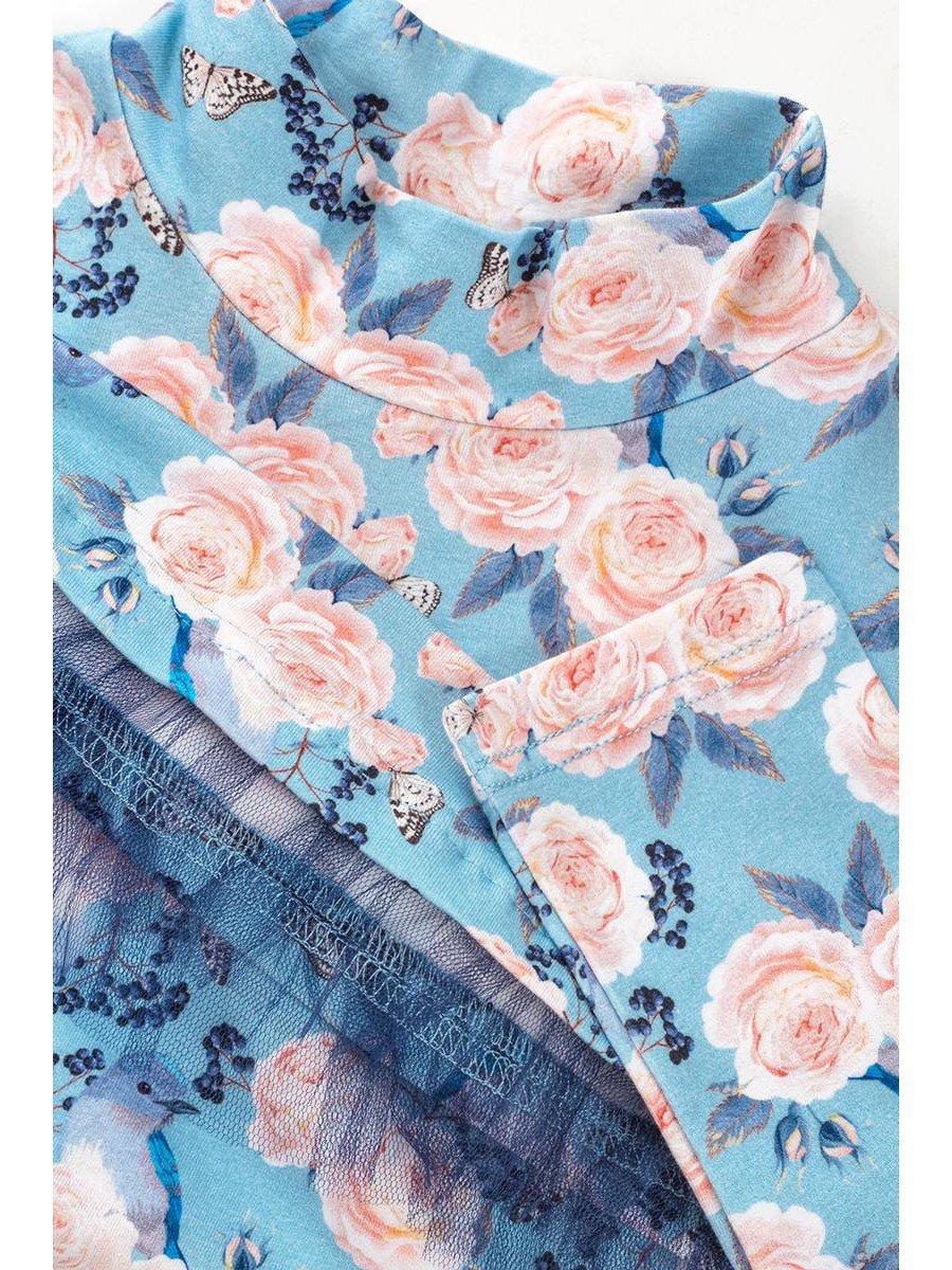 Водолазка для девочки с сеткой, цвет: светло-голубой