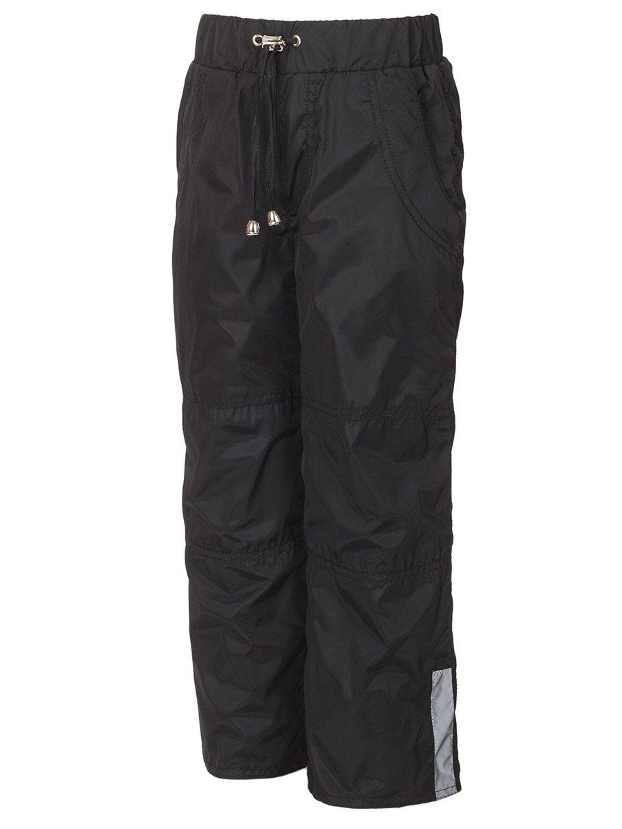 Брюки из плащевой ткани на подкладке из флиса (мальчик), цвет: черный