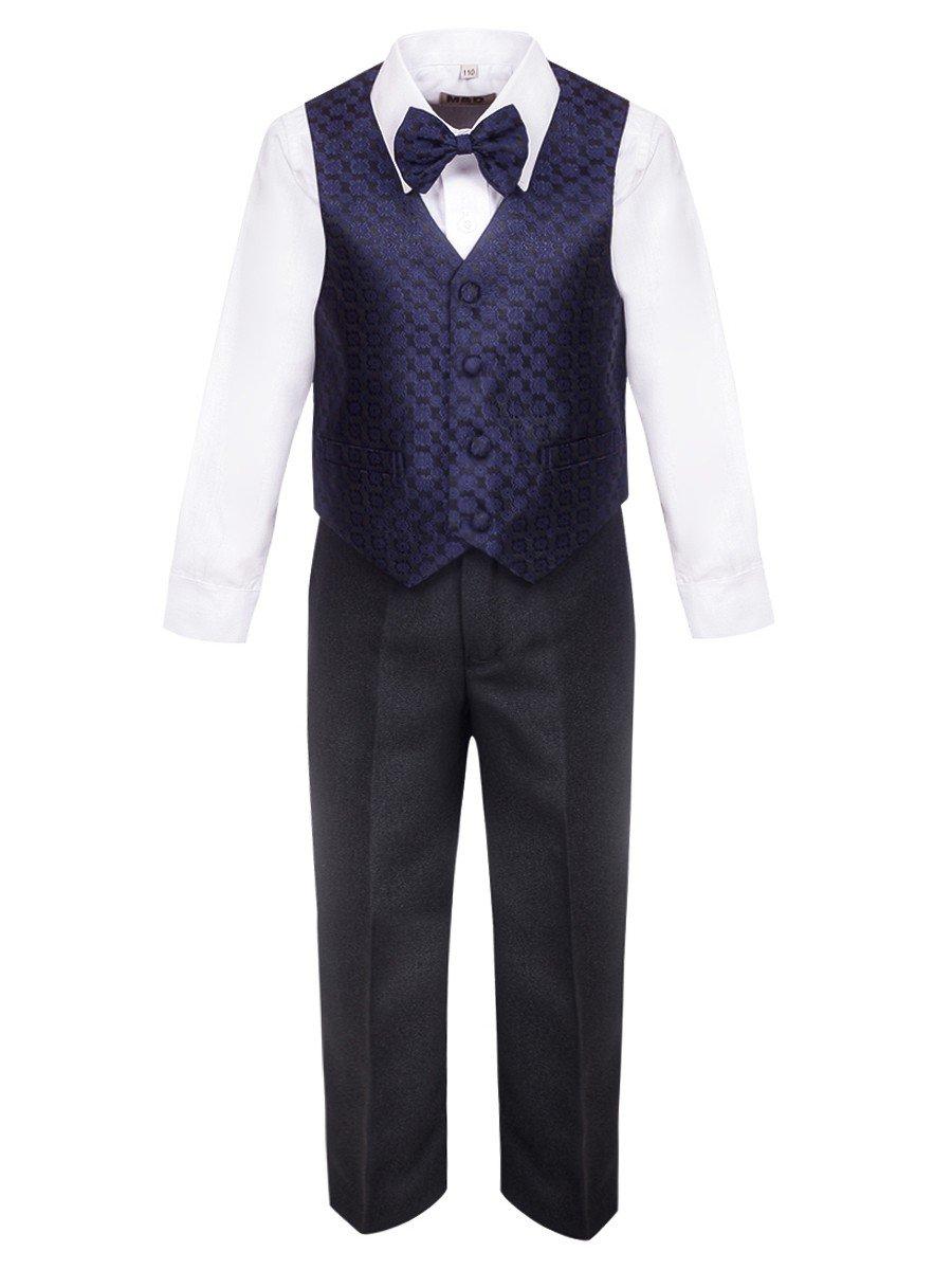 Костюм для мальчика: жилет,брюки,рубашка и бабочка, цвет: темно-синий