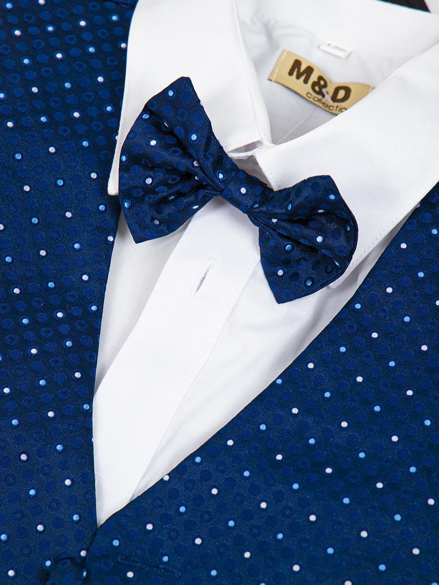 Костюм для мальчика: жилет,брюки,рубашка и бабочка, цвет: синий