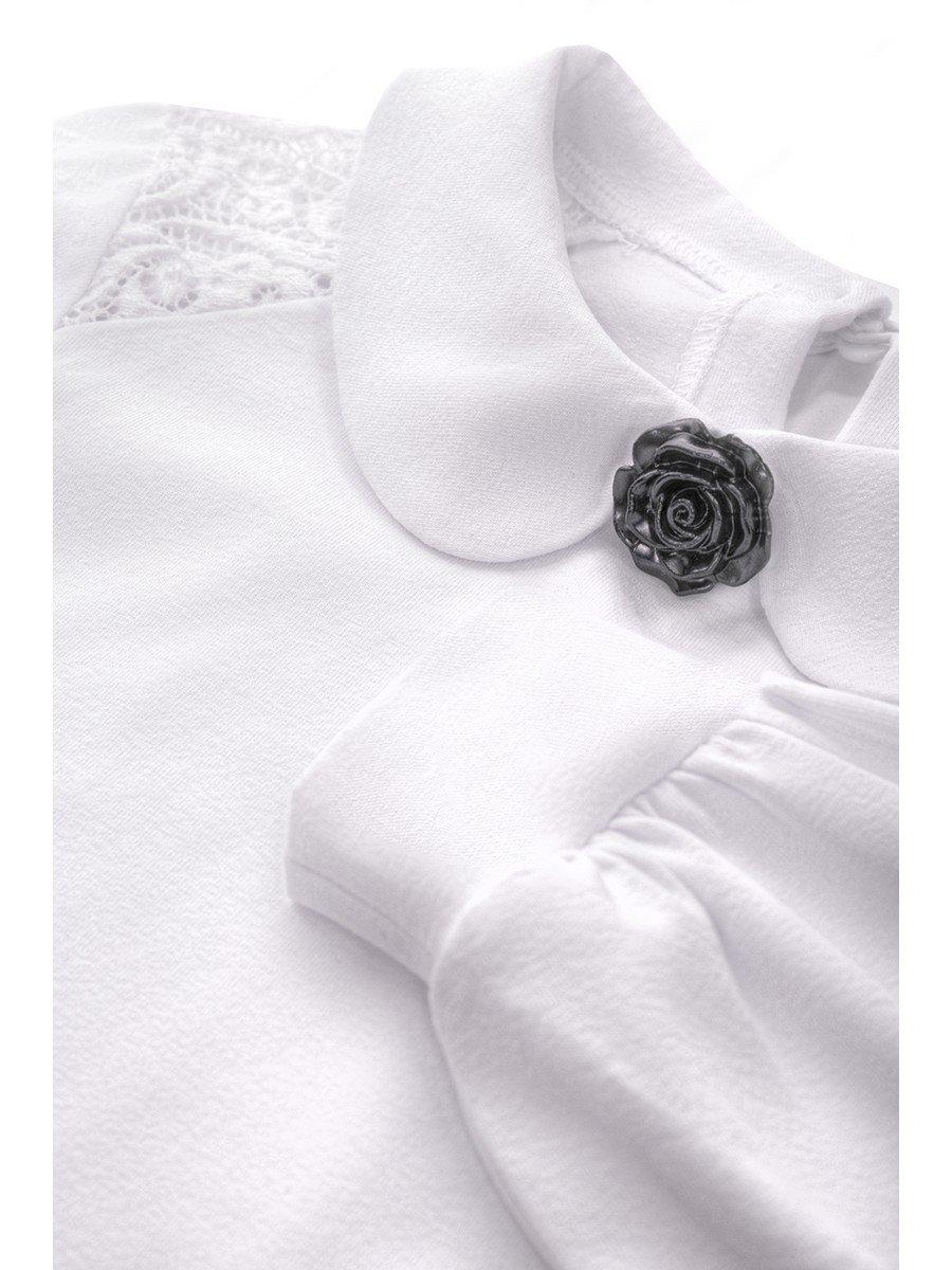 Блузка для девочки трикотажная, цвет: белый