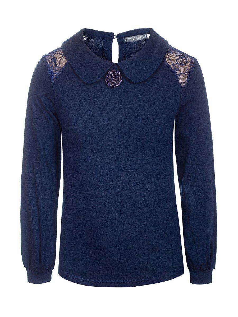Блузка для девочки трикотажная, цвет: темно-синий