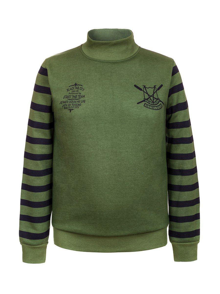 Водолазка с начесом для мальчика, цвет: зеленый лес