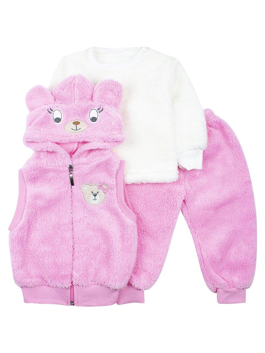 Комплект махровый детский, цвет: розовый