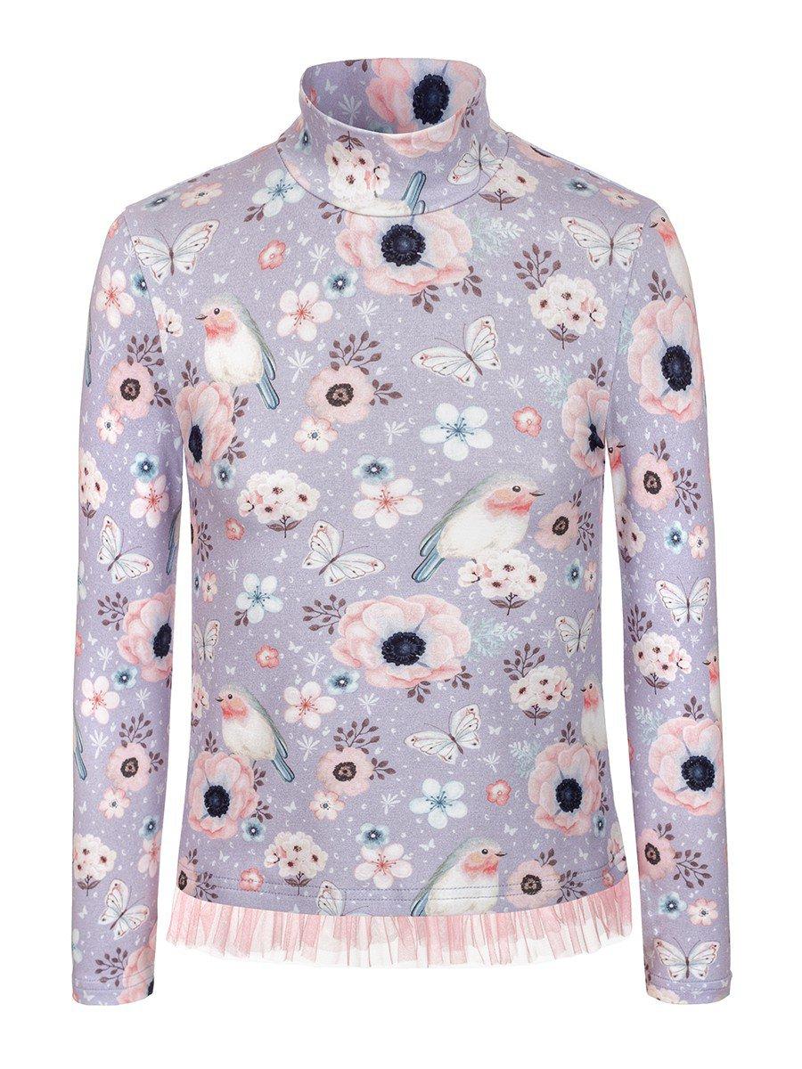 Водолазка для девочки с сеткой, цвет: серо-голубой