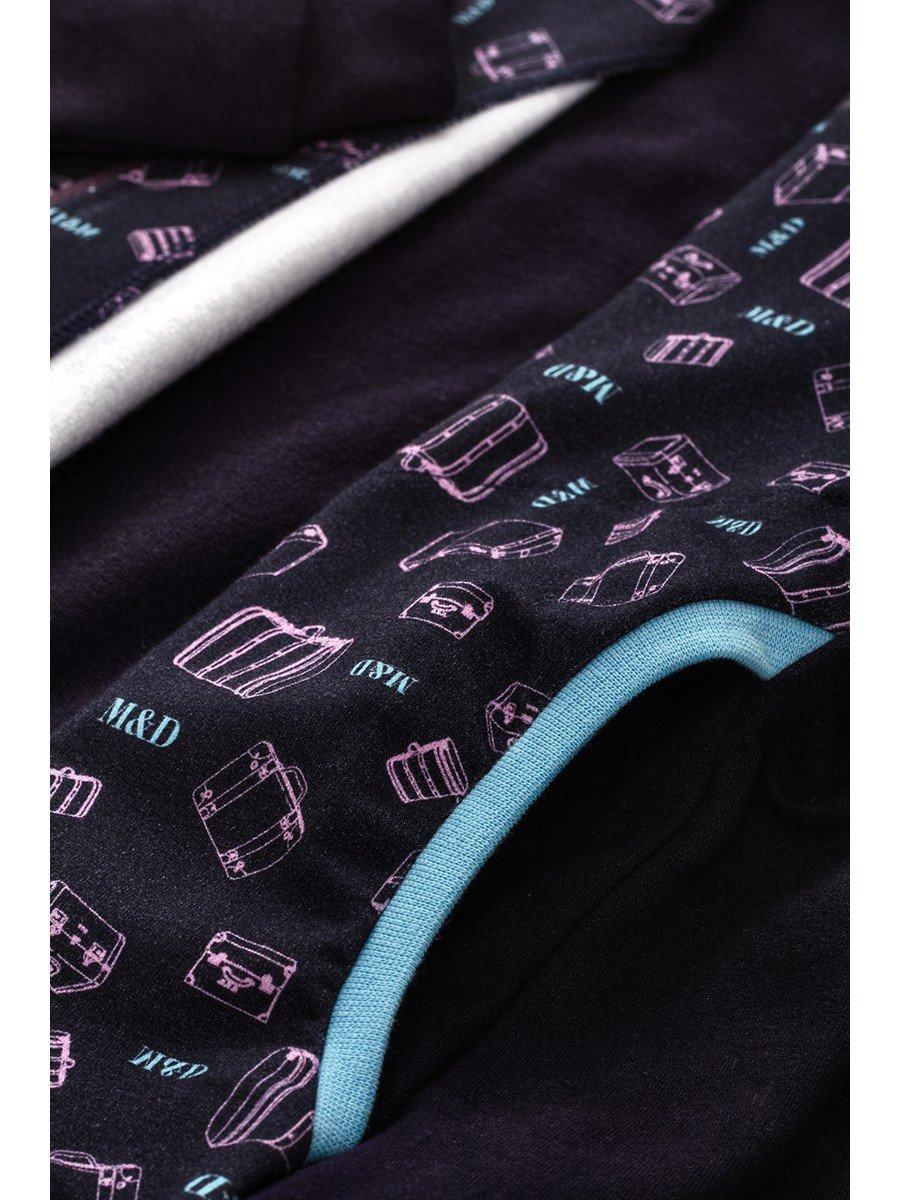 Бомбер для девочки с карманами, цвет: черника