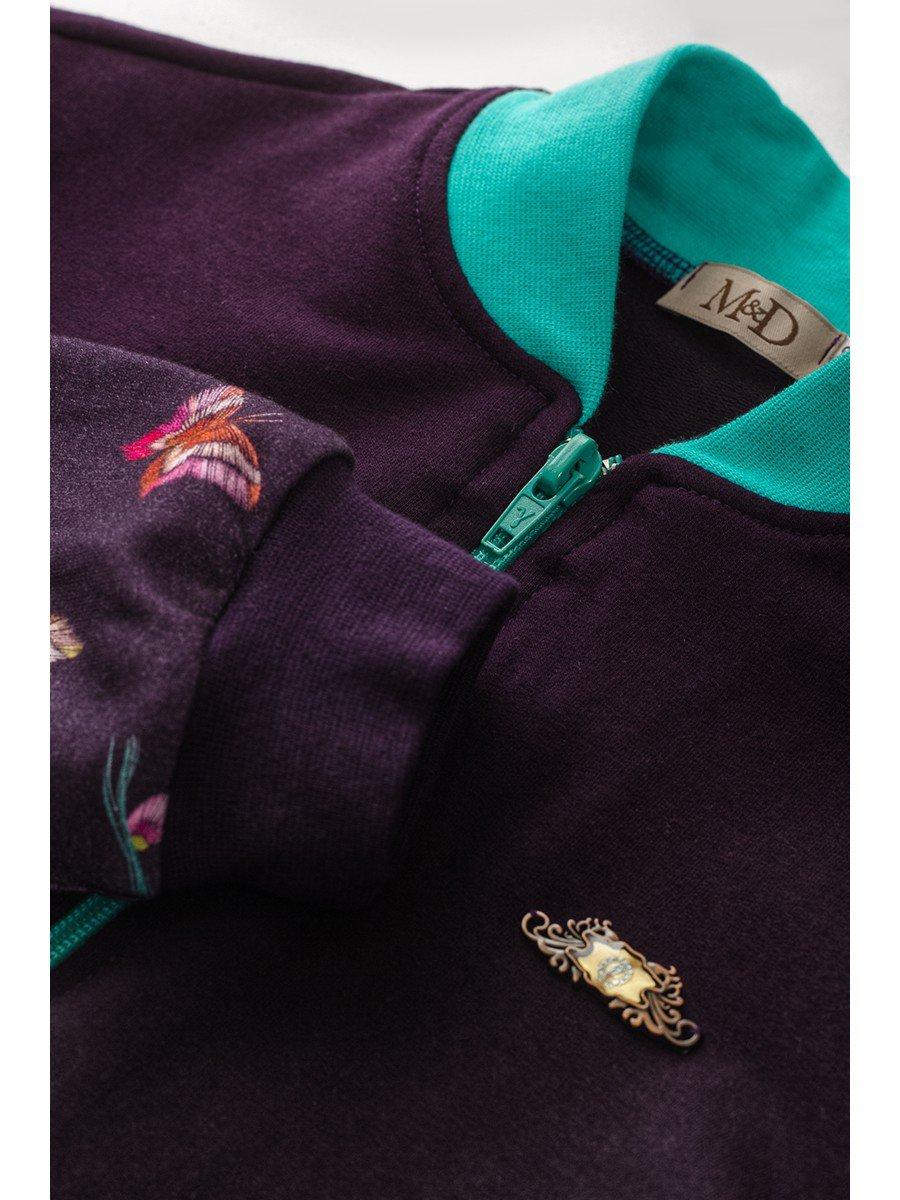 Бомбер для девочки, цвет: фиолетовый