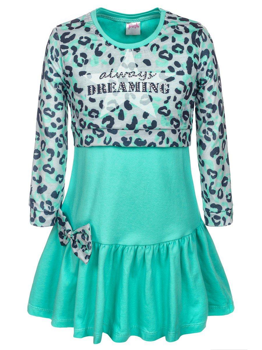 Комплект для девочки:лонгслив укороченный и платье, цвет: мятный