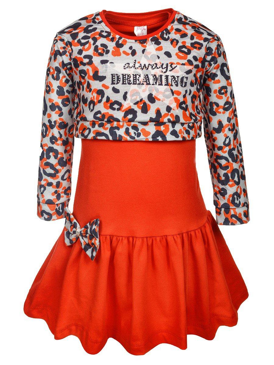 Комплект для девочки:лонгслив укороченный и платье, цвет: красный