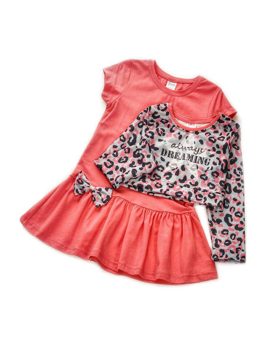 Комплект для девочки:лонгслив укороченный и платье, цвет: розовый