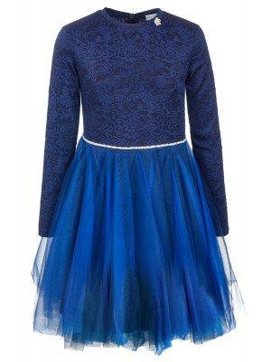 Платье темно-синее нарядное с декоративным поясом