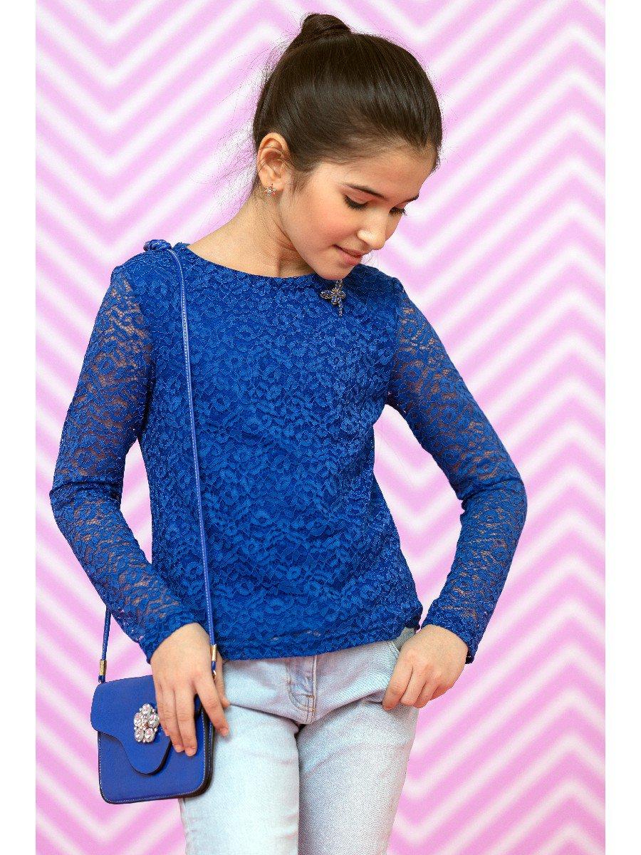 Блузка васильковая нарядная с декором, цвет: васильковый
