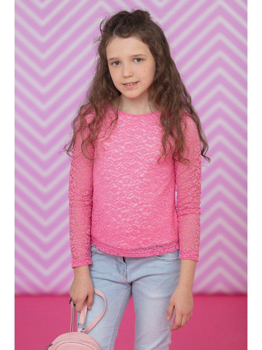 Блузка розовая нарядная с декором, цвет: розовый