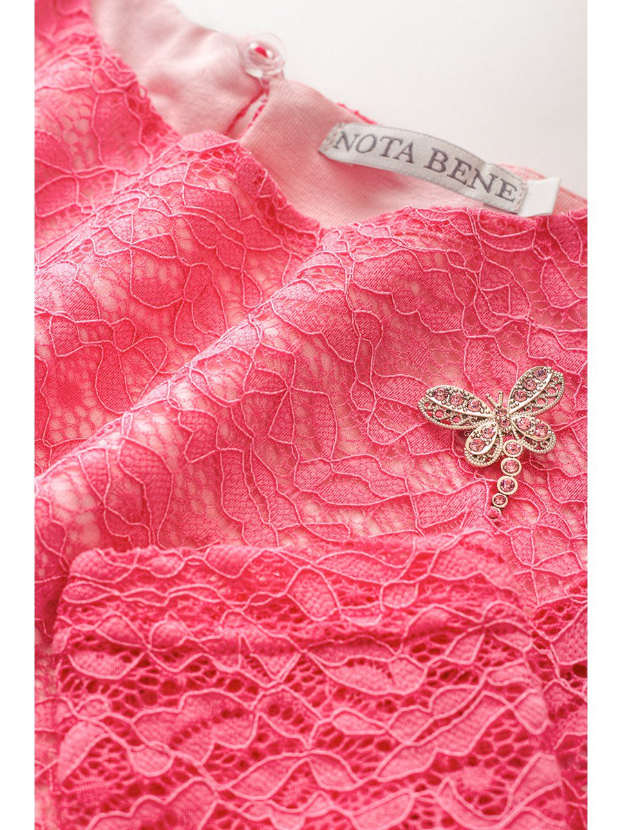 Блузка розовая нарядная с декором