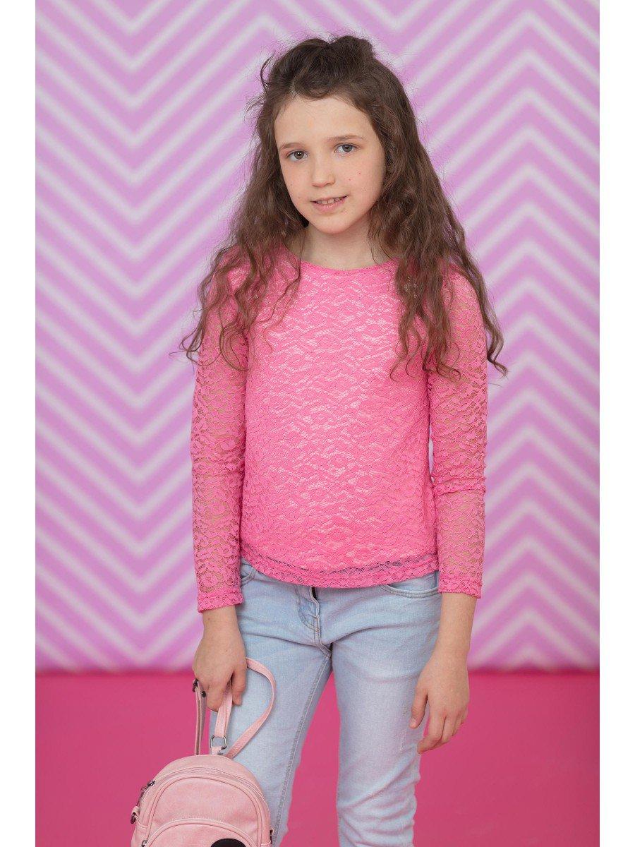 Блузка васильковая нарядная с декором, цвет: розовый