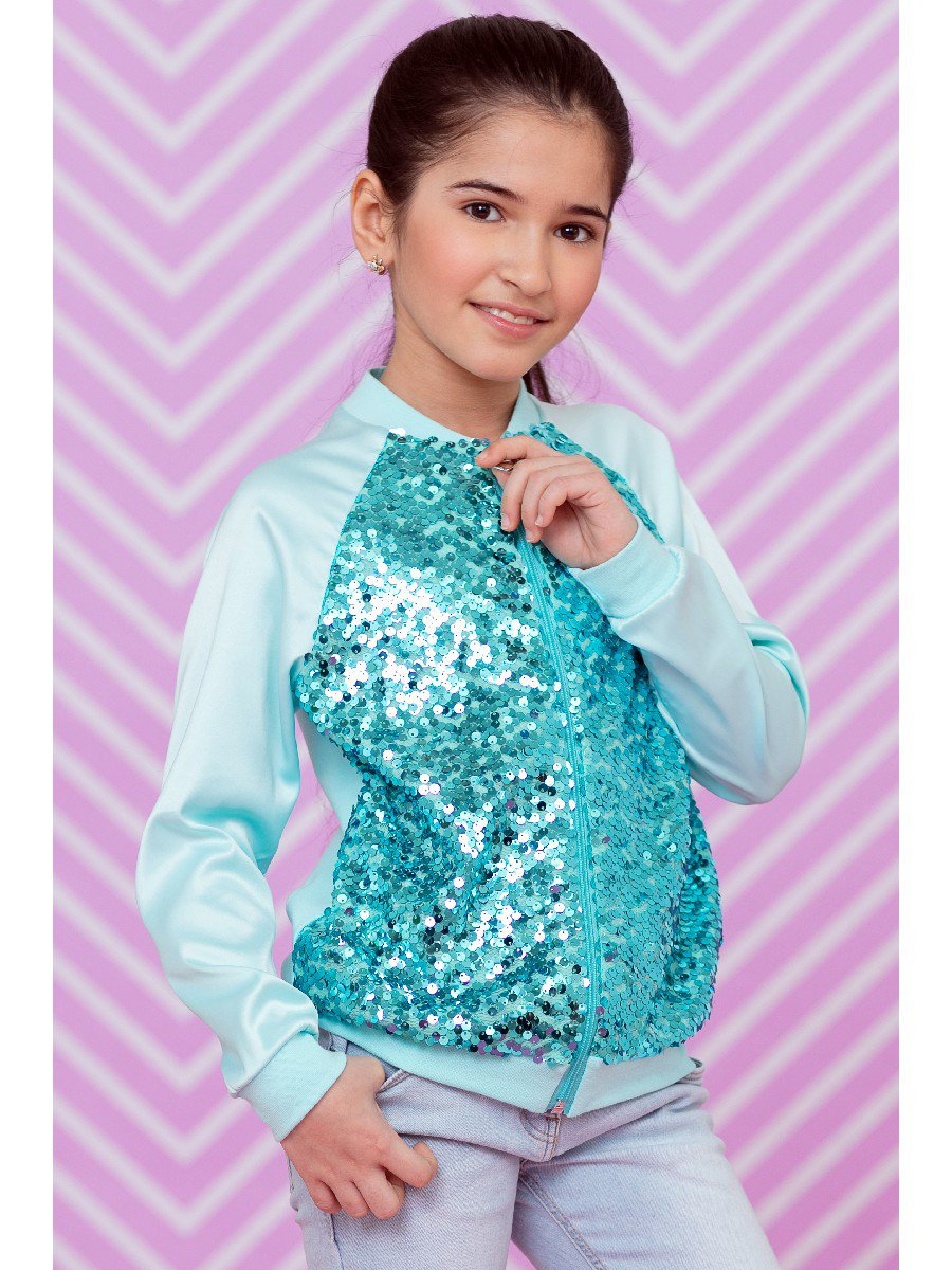 Бомбер для девочки с декоративной сеткой из пайеток, цвет: мятный