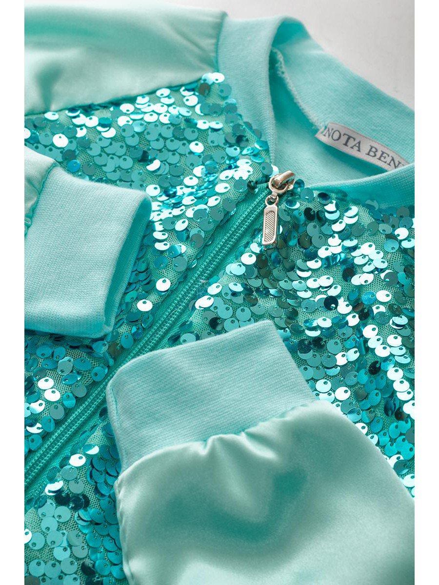 Бомбер для девочки с декоративной сеткой из пайеток
