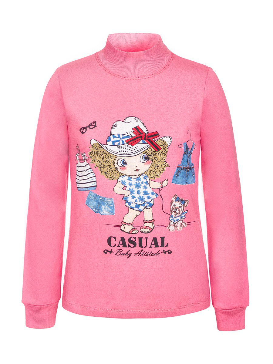 Водолазка с начесом для девочки, цвет: розовый