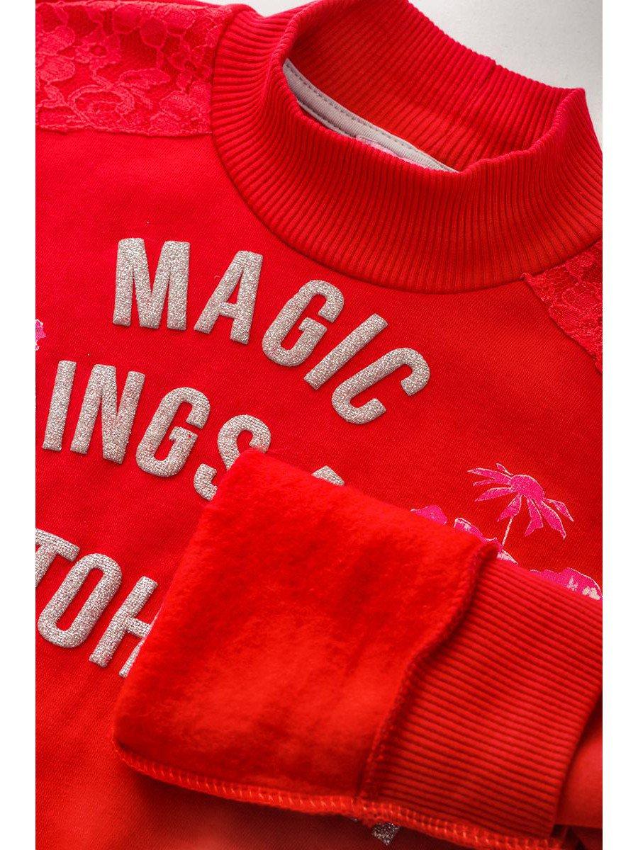 Водолазка с начесом для девочки, цвет: красный