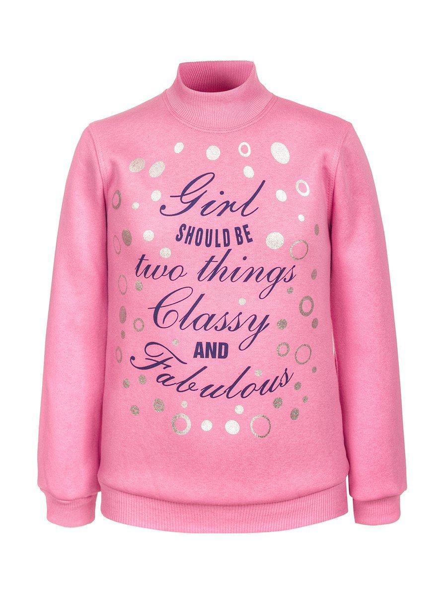 Водолазка для девочки с начесом, цвет: светло-розовый