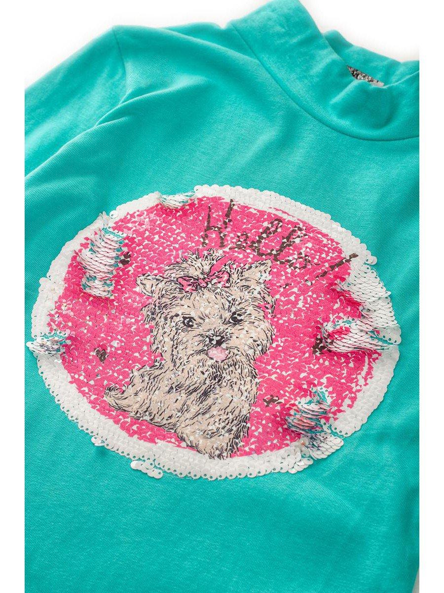 Водолазка с начесом для девочки декорирована двухсторонними пайетками, цвет: мятный