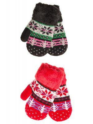 Варежки двойной вязки махровые для девочки
