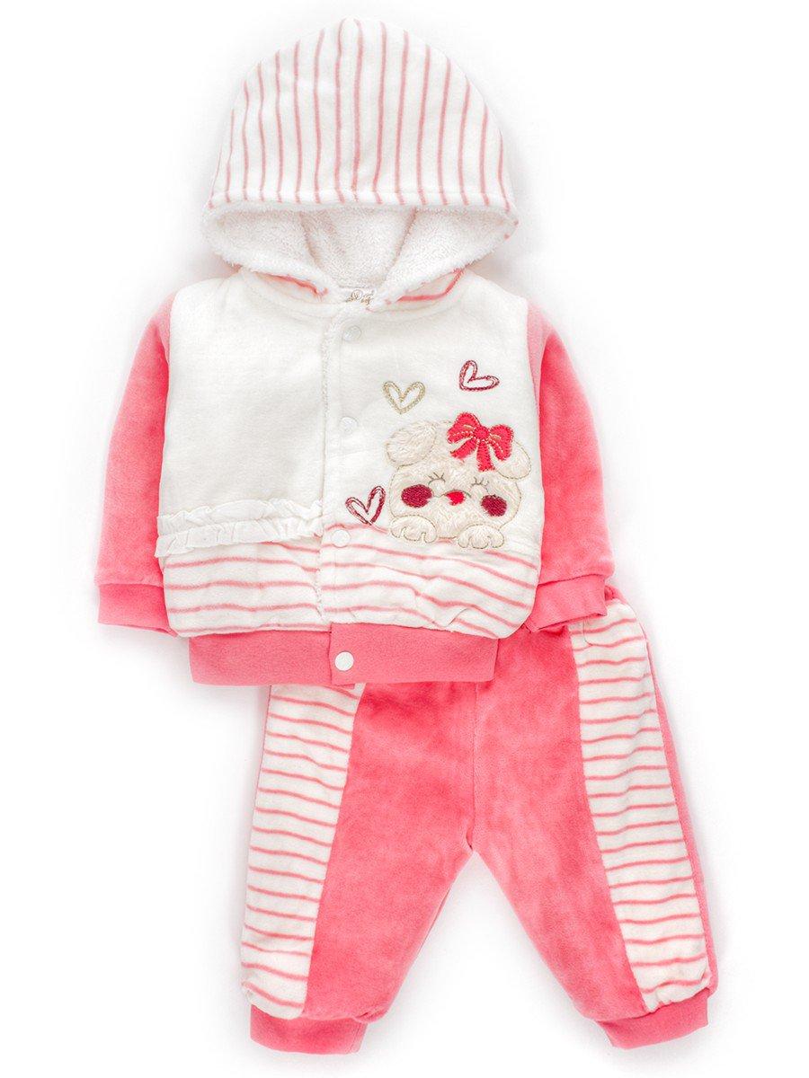 Комплект для девочки велюровый, цвет: розовый