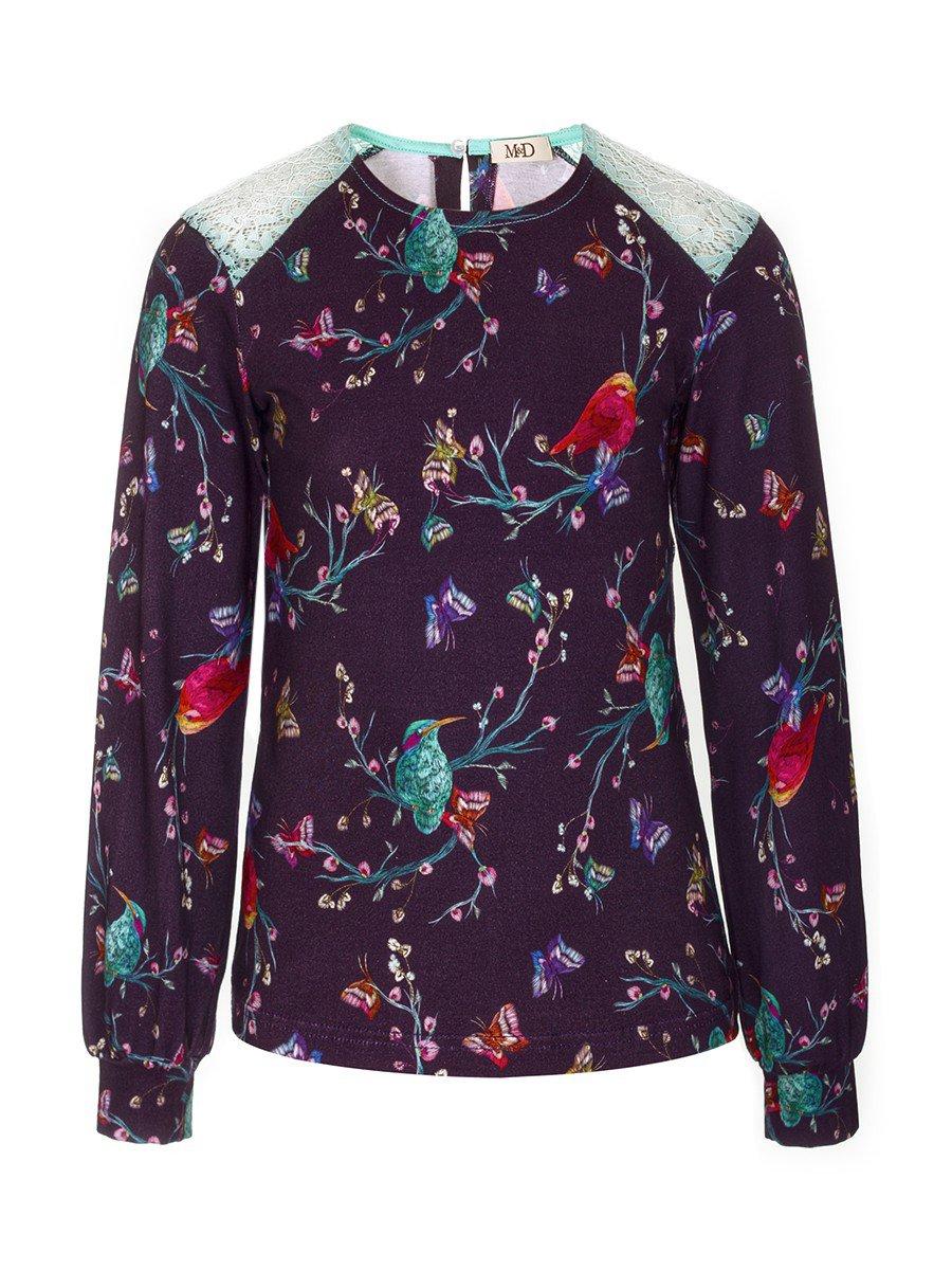 Блузка для девочки с кружевными вставками, цвет: фиолетовый