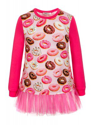 Туника для девочки розовая с рюшей из двойной сетки