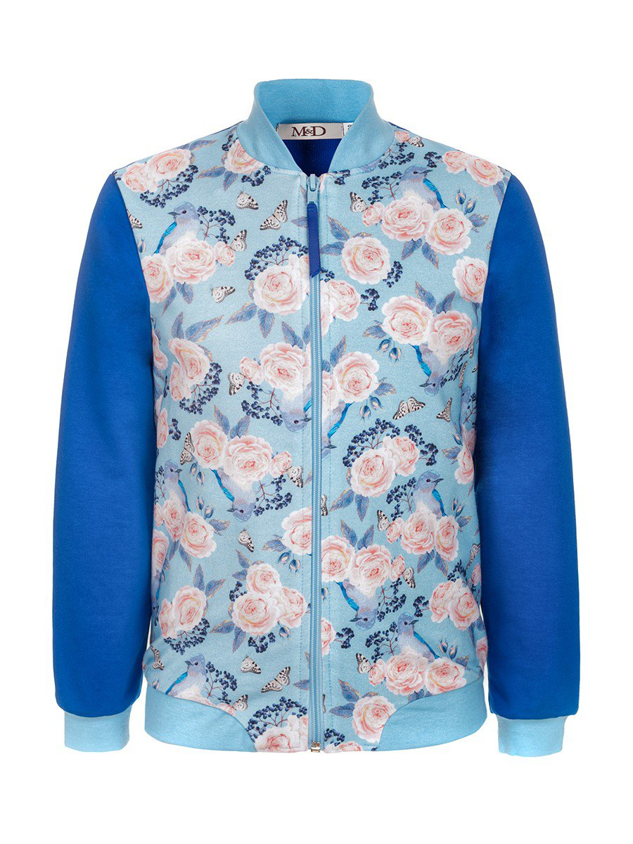 Бомбер для девочки, цвет: светло-голубой